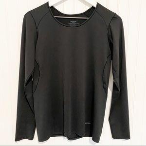 PATAGONIA capilene base layer black long sleeve shirt crew neck top size medium